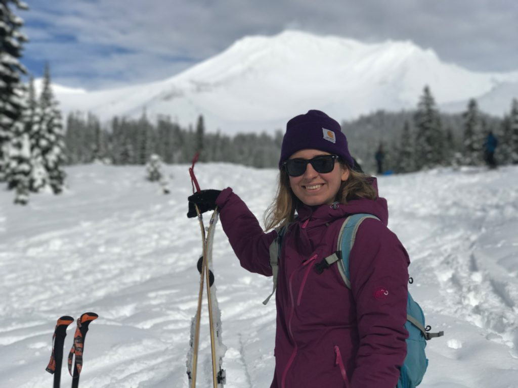 Kelsey with her new splitboard at Mt. Shasta, CA
